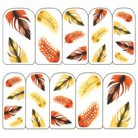 Nail Art Water Decals Sticker - Pop Decals - Feathers / Orange