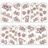 Nail Art Water Decals Sticker - Pop Decals - Floral Patterns / Brown