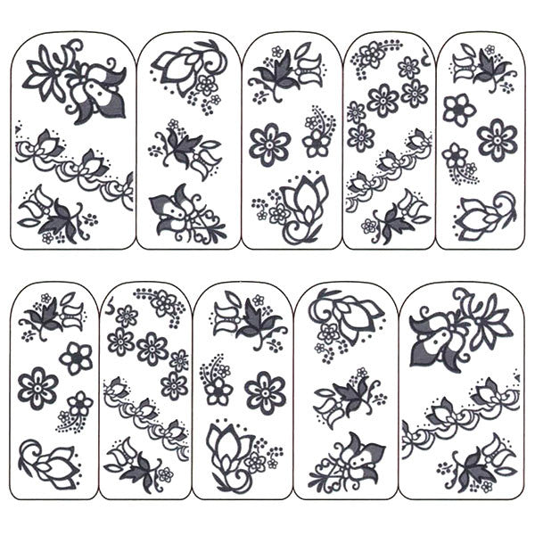 Nail Art Water Decals Sticker - Pop Decals - Floral Patterns / Black