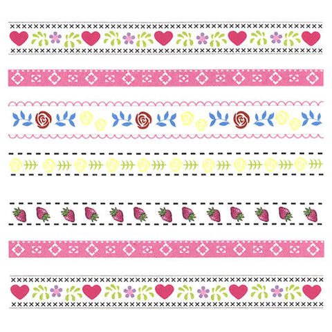 Nail Art Water Decals Sticker - Sweet Decals - Kawaii Stripes / Pink