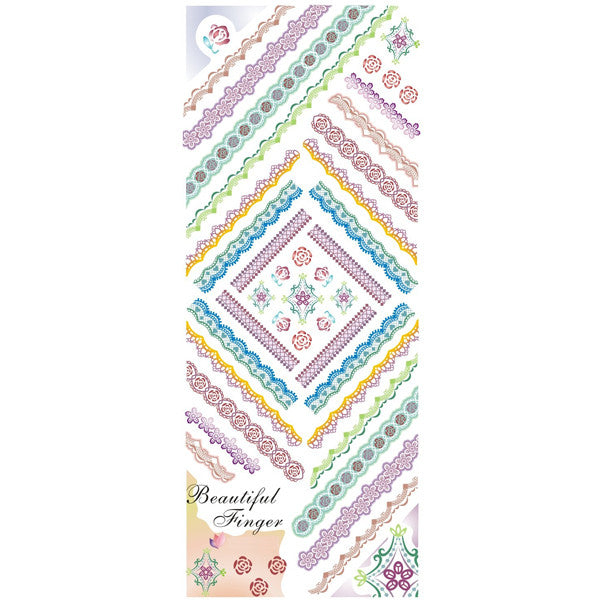 Daily Charme Nail Art Water Decals Dainty Decals - Stripe Lace