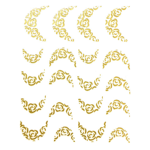 Nail Art Water Decal Sweet Decals - Gold French Nail Roses