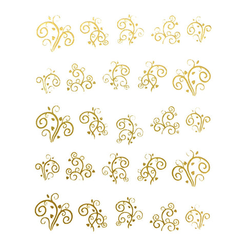Nail Art Water Decal Sweet Decals - Gold Swirly Hearts