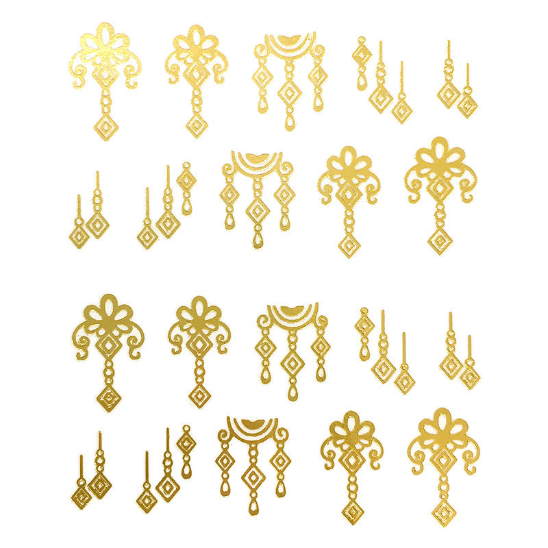 Nail Art Water Decal Sweet Decals - Gold Dangles