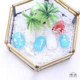 FUNSIDE Japanese Nail Art Sticker / Sea Luau Silver Foil Summer Nail Art