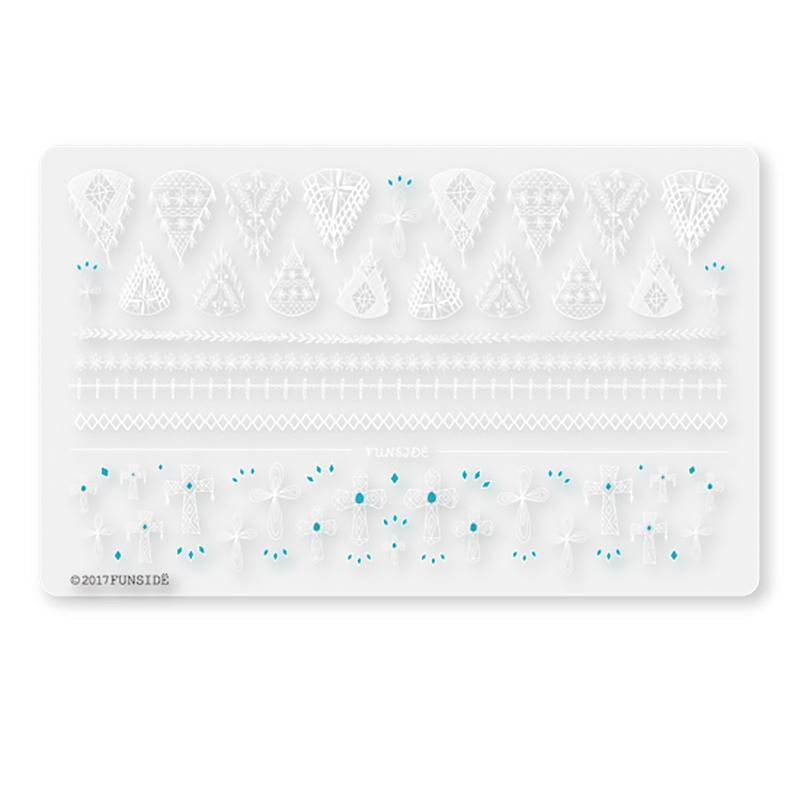 FUNSIDE Japanese Nail Art Sticker / Crochet Lace & Crosses White