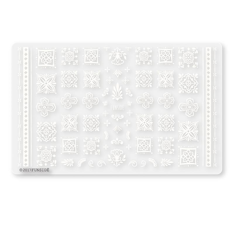 FUNSIDE Japanese Nail Art Sticker / Moroccan Tiles White