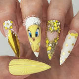 Daily Charme Mirror Gold Chrome Powder Tweety Bird Swarovski