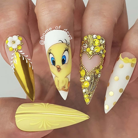 Daily Charme Home of Deva Tweety Bird Nail Art Feather Charm