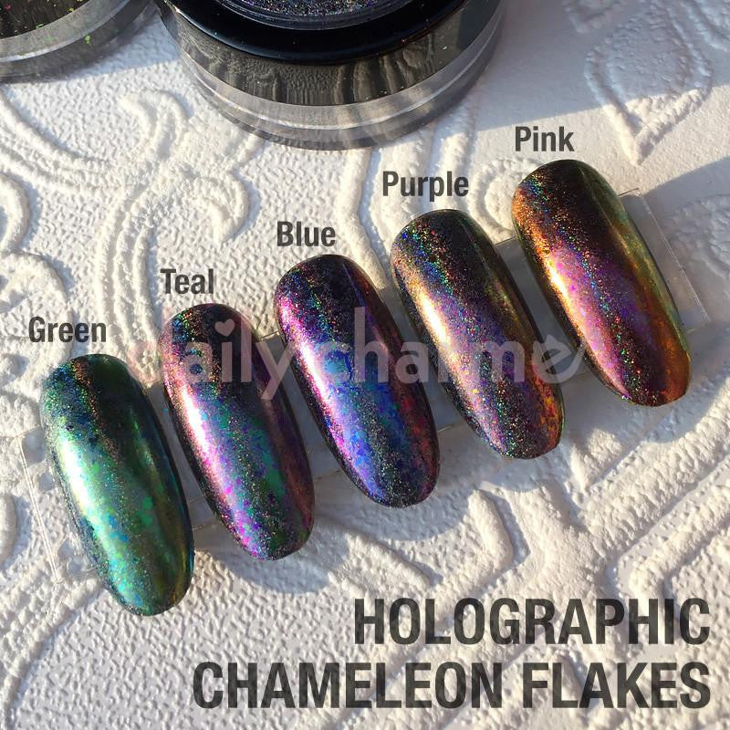 Holographic Chameleon Flake / Holo Pink Nail Art Color Shifting ...