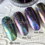 Holographic Chameleon Flake / Holo Teal Nail Art Magic Shifting Swatch
