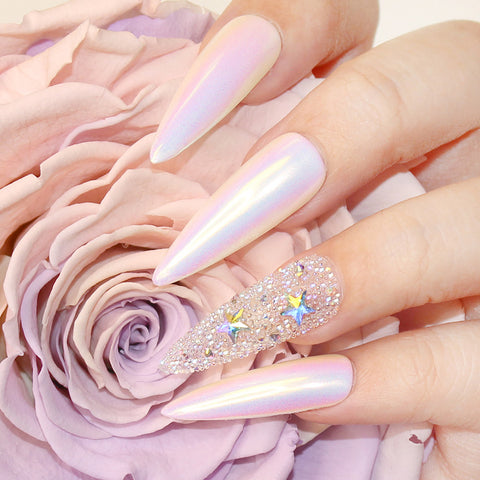 Unichrome Aurora Unicorn Chrome Powder Rainbow Nails
