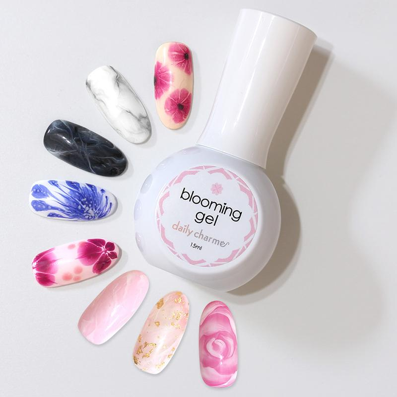 Daily charme blooming gel marbling watercolor effect daily charme blooming gel nail art watercolor effect samples marble flowers roses prinsesfo Image collections