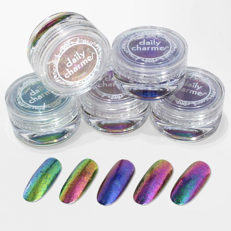Nail Art Chameleon Chrome Flakes Color Shifting Green Pink Purple Blue / 5 Colors