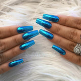 Daily Charme Blue Aqua Chrome Metallic Nails by Gaby Malishka Nails