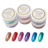 Metallic Chrome Flakes Nail / Fine / 6 Colors Red Pink Rose Gold Purple Blue Teal