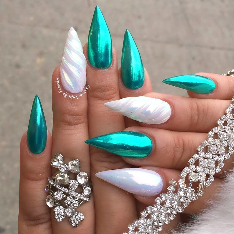 Metallic Chrome Flakes Nail Fine 6 Colors Teal Unichrome Unicorn Nails