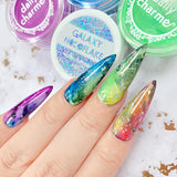 Daily Charme Blooming Gel Nail Art Watercolor Effect Rainbow Marble Flowers Roses
