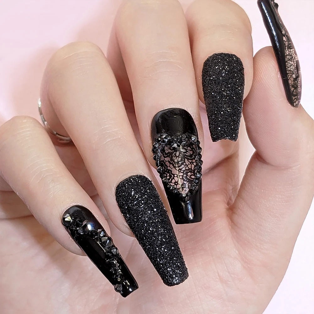 Daily Charme Foil Transfer Gel Nail Art Full Coverage Lace Flowers