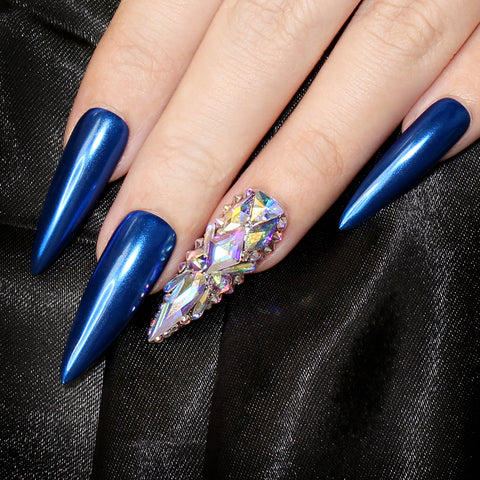 Royal Blue Chrome Powder for Nail Art with Swarovski Crystals