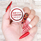 Daily Charme Mirror Red Chrome Powder Velvet Matte Nails