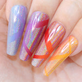Rainbow Holographic Unicorn Powder Nail Art DIY Swatch