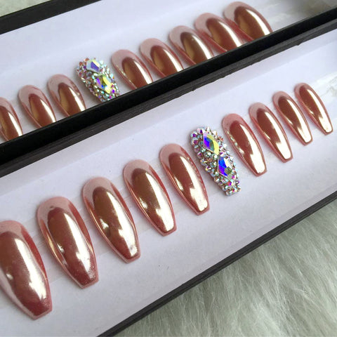 Daily Charme Rose Gold Chrome Nails