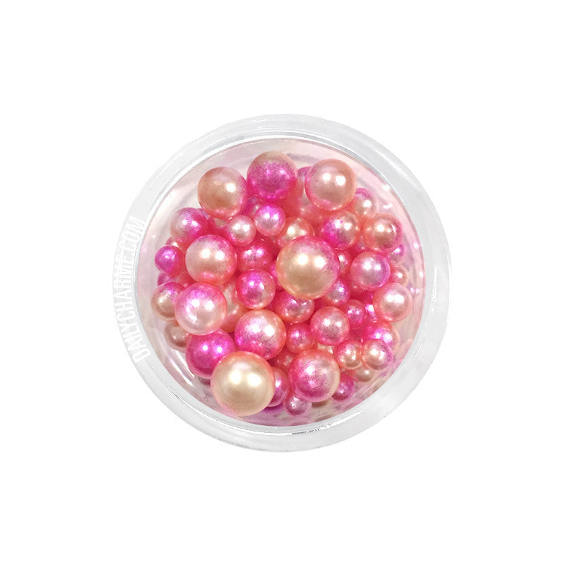 Dreamy Flamingo Pearls Pink Ombre Pearls Nail Art No Hole
