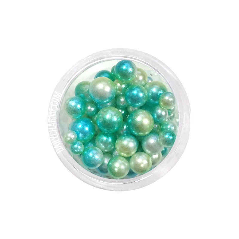 Dreamy Fairy Pearls Round No Hole Nail Art Pearl Mix Green Turquoise