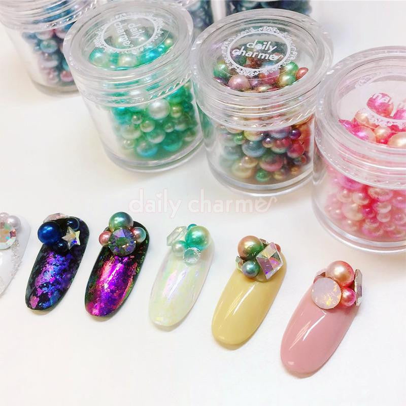 Dreamy Fairy Pearls Round No Hole Nail Art Pearl Mix Green Turquoise Cluster