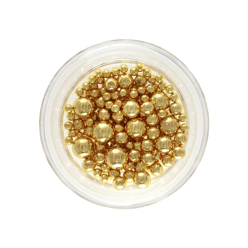 Quality Nail Art Metallic Round Beads No-Holes Gold