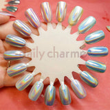 Holographic Unicorn Powder Nail Art DIY Swatch