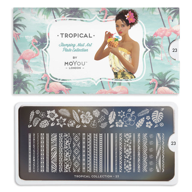 Daily Charme Nail Supply Nail Art Stamping plate Tropical 23 Mix & Match