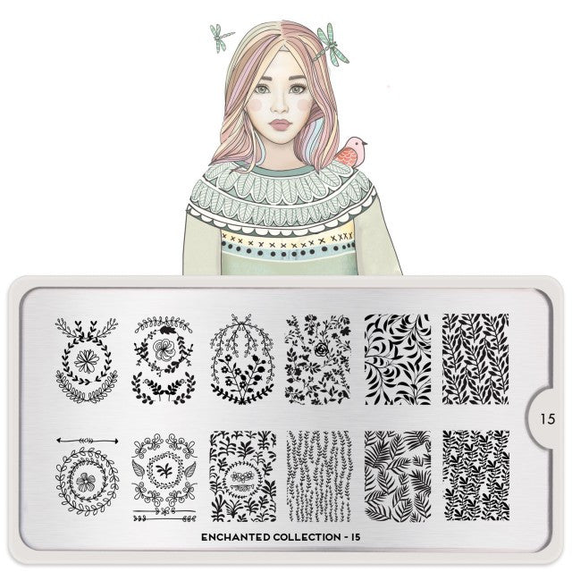 Moyou Nail Art Stamping Plate - Enchanted 15 - Greenery Large Palette
