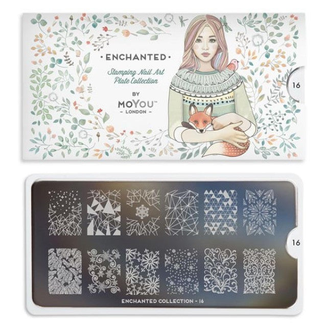 Moyou Nail Art Stamping Plate - Enchanted 16 - Geometric Nature Large Palette