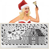 Nail Art Stamping Plate Image MoYou Festive Collection 1 Gingerbread House