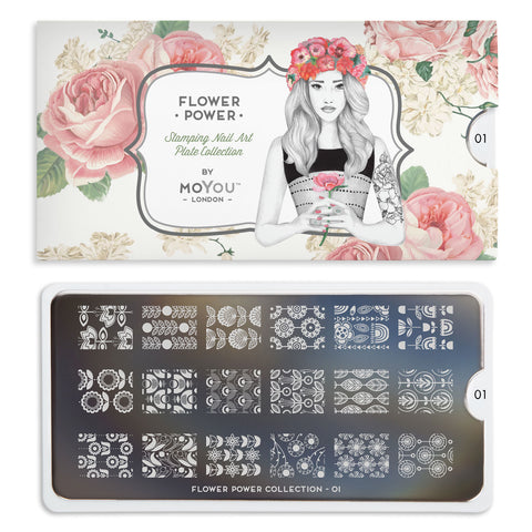 Moyou London Flower Power 01 - Retro Floral Prints Palettes Small