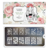 Flower Power 06 - Oriental Floral Prints Palettes Large Moyou London Nail Stamping Plate