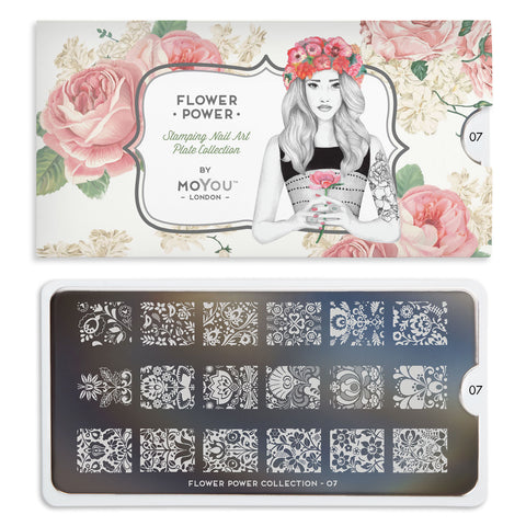 Moyou London Nail Stamping Plate Flower Power 07 - Classic Floral Prints Palettes Small