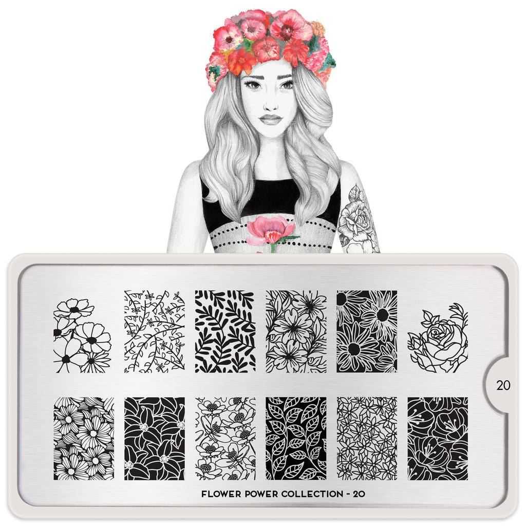 Daily Charme Moyou London Nail Art Stamping Plate Flower Power 20 Floral Prints