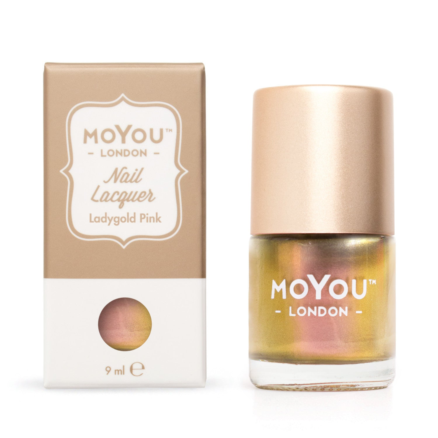 Moyou London / Stamping Nail Lacquer /  Ladygold Pink - Color Shifting Chameleon Pink Gold Stamping Polish