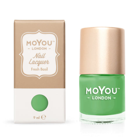 Moyou London / Stamping Nail Lacquer /  Fresh Basil - Green Stamping Polish