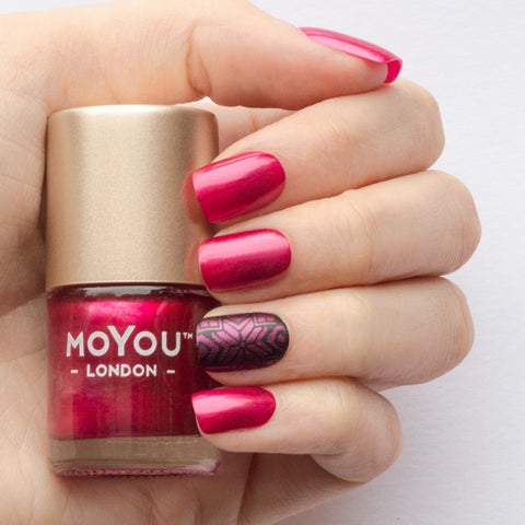 Moyou London / Stamping Nail Lacquer / Cherry Fuzz - Metallic Red Stamping Polish