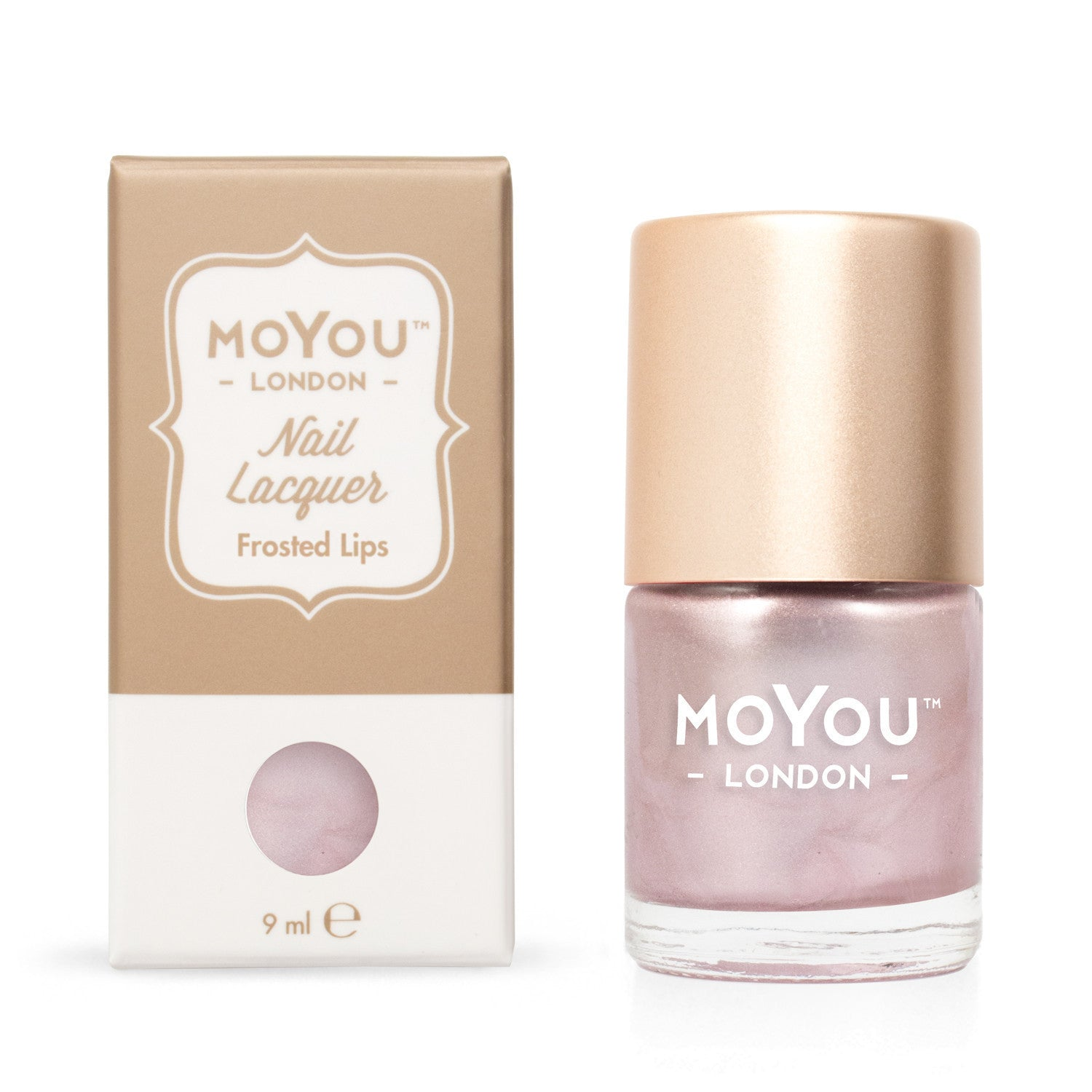 Moyou London / Stamping Nail Lacquer / Frosted Lips - Metallic Pink Gold Stamping Polish