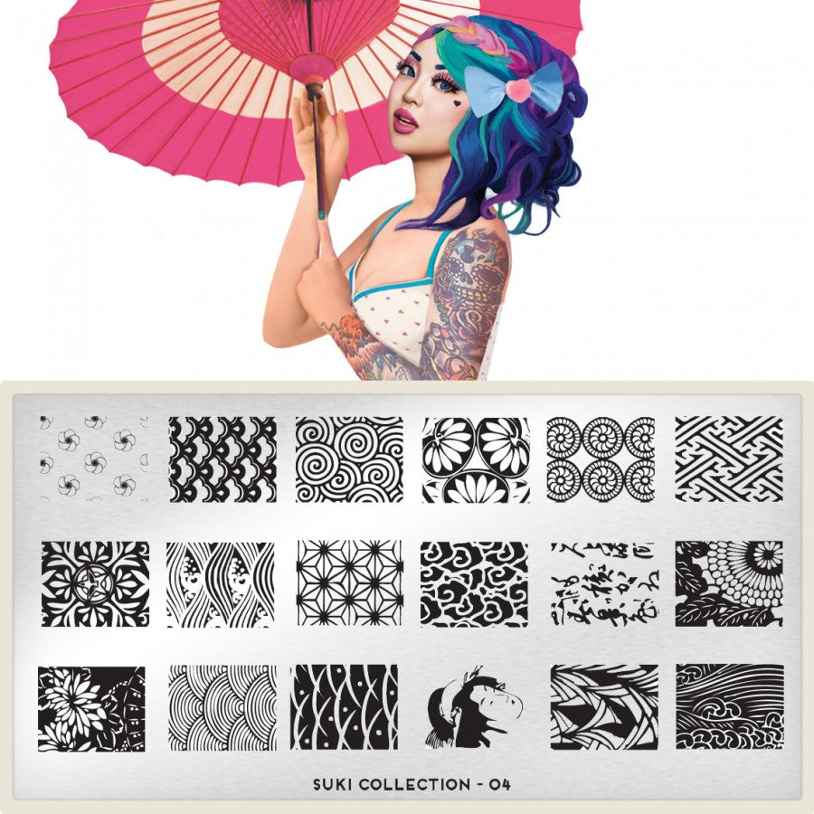 Nail Art Stamping Plate Image MoYou Suki Collection 4 Pattern Palettes Small