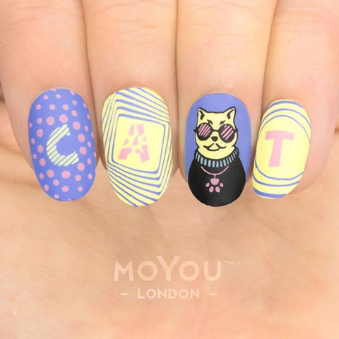 Daily Charme Nail Art Stamping Plate Moyou London Crazy Cat Lady 06 - Purrfessionals