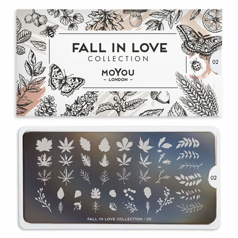 Daily Charme Stamping Plate Moyou London Fall In Love 02 Autumn Leaves
