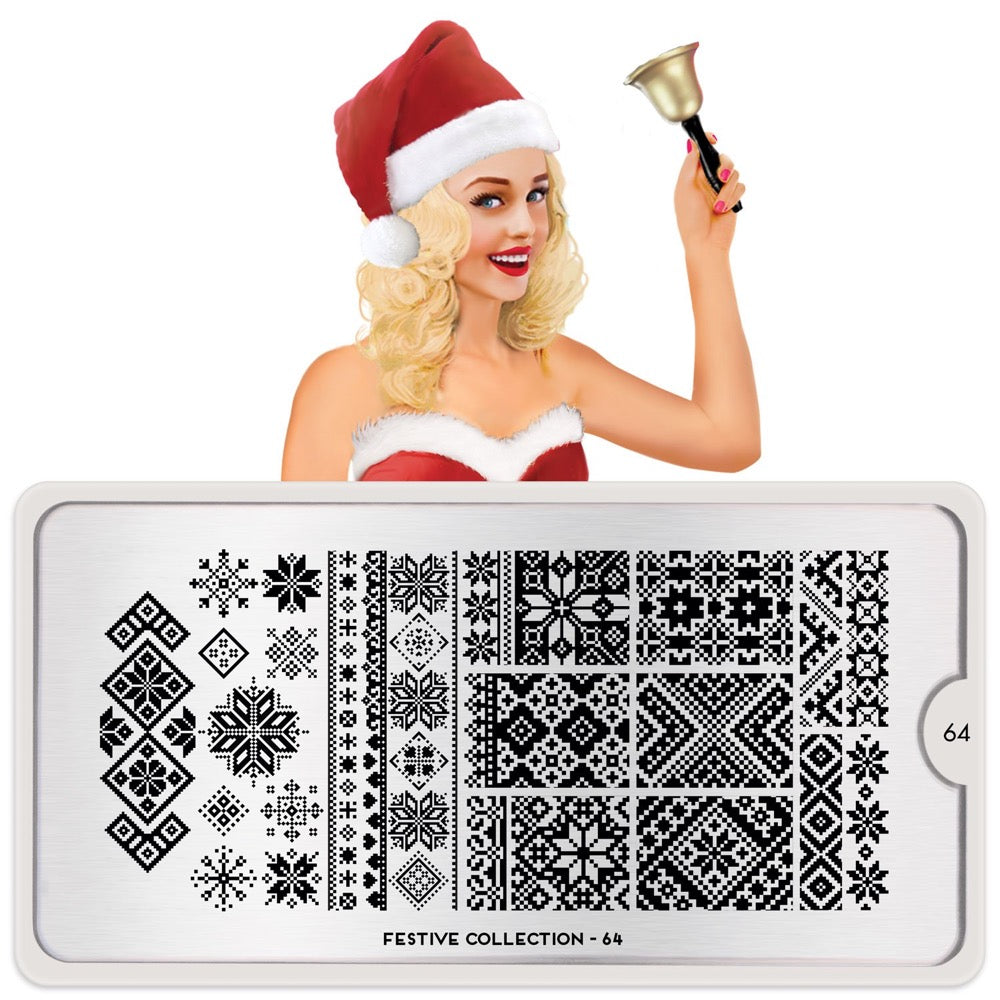 Daily Charme Nail Art Stamping Plate Moyou London Festive 64 - Christmas Knit Patterns