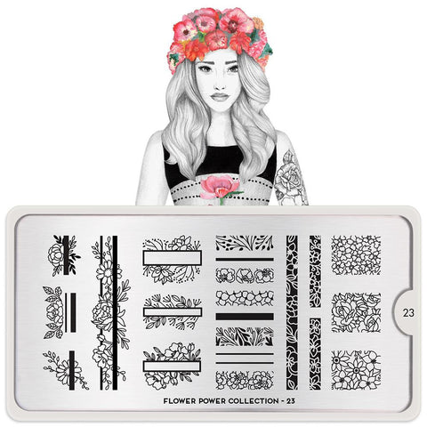 Daily Charme Moyou London Nail Art Stamping Plate Flower Power 23 Floral Prints
