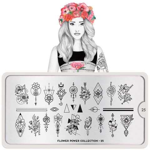 Daily Charme Moyou London Nail Art Stamping Plate Flower Power 25 - Geometric Flowers